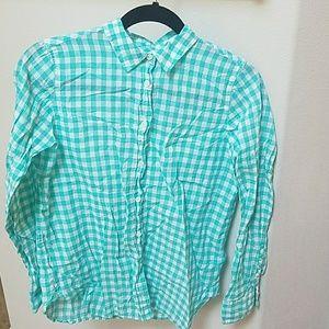 JCrew Aqua Gingham Button Down shirt